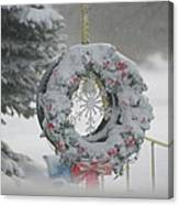 Wreath In A Snow Storm Canvas Print
