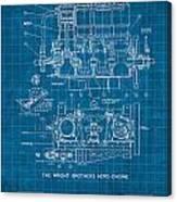 Wright Brothers Aero Engine Vintage Patent Blueprint Canvas Print