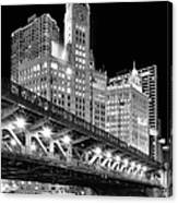 Wrigley Building At Night In Black And White Canvas Print