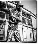 Wrigley Field Ernie Banks Statue In Black And White Canvas Print
