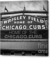 Wrigley Field Sign In Black And White Canvas Print