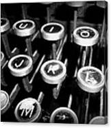 Writing The Great Novel - Black And White Canvas Print