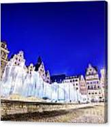 Wroclaw Poland The Market Square And The Famous Fountain At Night Canvas Print
