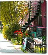 Wrought Iron Fence Balcony And Staircases Verdun Stairs Summer Scenes Carole Spandau  Canvas Print