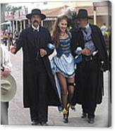 Wyatt Earp  Doc Holliday Escort  Woman  With O.k. Corral In  Background 2004 Canvas Print