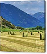 Wyoming Mountain Hay Farm Canvas Print