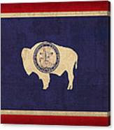Wyoming State Flag Art On Worn Canvas Canvas Print