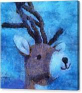 Xmas Reindeer 01 Photo Art Canvas Print