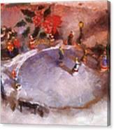 Xmas Skating Rink Photo Art Canvas Print
