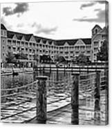 Yacht And Beach Club After The Rain In Black And White Walt Disney World Canvas Print
