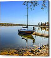 Yacht At The Little Manitou Lake Canvas Print