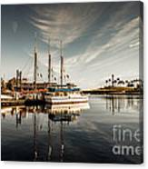 Yacht At The Pier On A Sunny Day Canvas Print