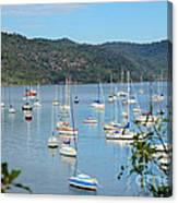 Yachts In A Quiet Estuary Canvas Print