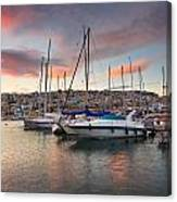 yachts in Mikrolimano marina  Canvas Print