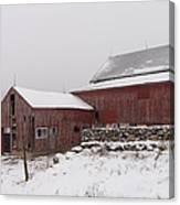 Yankee Farmlands No 19 - Winter Snow And New England Barn Canvas Print