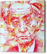 Yasunari Kawabata Watercolor Portrait Canvas Print