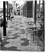 Ybor City Sidewalk - Black And White Canvas Print