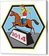 Year Of Horse 2014 Jockey Jumping Cartoon Canvas Print