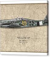 Yellow 10 Focke-wulf Fw190d - Map Background Canvas Print