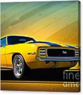 Yellow 1969 Camaro Ss Canvas Print