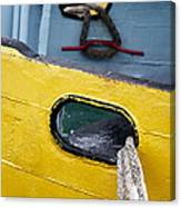 Yellow And Blue Boat Canvas Print