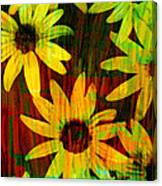 Yellow And Green Daisy Design Canvas Print