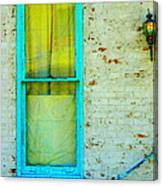 Art Deco Lamp And Yellow And Turquoise Window Canvas Print