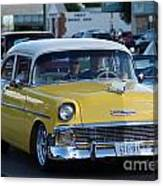 Yellow And White Classic Chevy Canvas Print