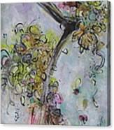 Yellow Blossoms Painting Flowr Butterflies Art Abstract Modern Spring Color Flower Art Canvas Print