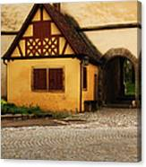 Yellow Building And Wall In Rothenburg Germany Canvas Print