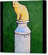 Yellow Cat On Milk Can Canvas Print