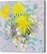 Yellow Dahlias And Peruvian Lilies Canvas Print