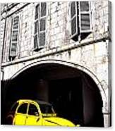 Yellow Deux Chevaux In Shadow Canvas Print