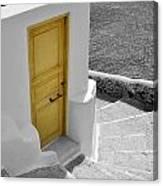 Yellow Door Of Oia Canvas Print