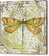 Yellow Dragonfly On Vintage Tin Canvas Print