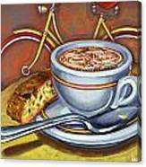 Yellow Dutch Bicycle With Cappuccino And Biscotti Canvas Print