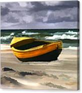 Yellow Fishing Dory Before The Storm Canvas Print
