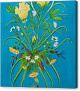 Yellow Floral Enchantment In Turquoise Canvas Print