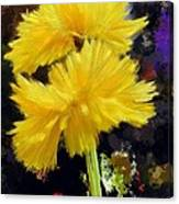 Yellow Flower With Splatter Background Canvas Print