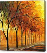 Yellow Fog - Palette Knife Oil Painting On Canvas By Leonid Afremov Canvas Print