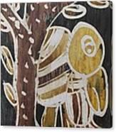 Yellow Head Brown Owl Bird On The Tree Canvas Print