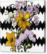 Yellow Lilies On Black And White Zigzag Canvas Print