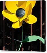 Yellow Metal Garden Flower Canvas Print
