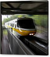 Yellow Monorail Entering The Station 02 Canvas Print