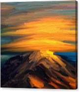 Yellow Mountaintop Hugged By Yellow Cloud  Canvas Print