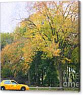 Yellow Nyc Taxi Driving Through Central Park Usa Canvas Print