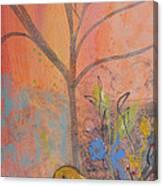 Yellow Peace Bird On Orange Canvas Print