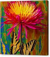 Yellow Red Mum With Yellow Black Butterfly Canvas Print