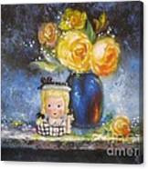 Yellow Roses And Headvase Girl Canvas Print