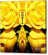 Yellow Roses Mirrored Effect Canvas Print